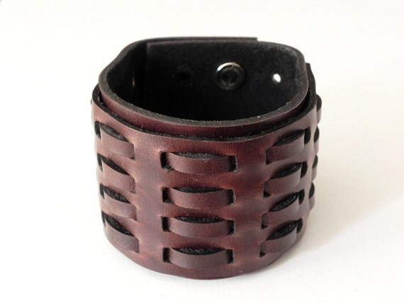 Woven Brown Leather Bracelet Leather Cuff