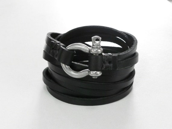 Multi Strands Black Leather Bracelet Leather Cuff with Stainless Shackle Clasp
