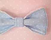 Girly Princess Kawaii Sweet Lolita Pastel Blue And White Polka Dot Hair Bow/Barrette/Hair Clip