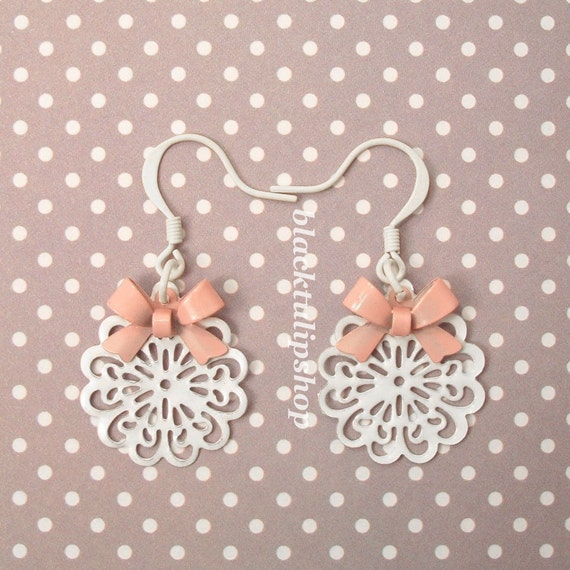 Sweet Lolita Earrings Pink Bow Retro White Lace Doily Charm