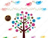 Happy Birds And Tree Digital Scrapbook Paper Clipart, Paper Crafts, Cards