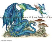 Dragon and fairy 8.5x11 PRINT Close Encounter by Amy Brown
