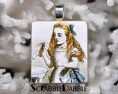 Alice in Wonderland --- Scrabble Tile  Pendant  --- Scrabble Dabble ---