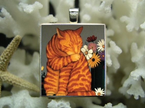 Orange Tabby Cat with flowers Licking his paws Scrabble Tile  Pendant  --- Scrabble Dabble --- 009