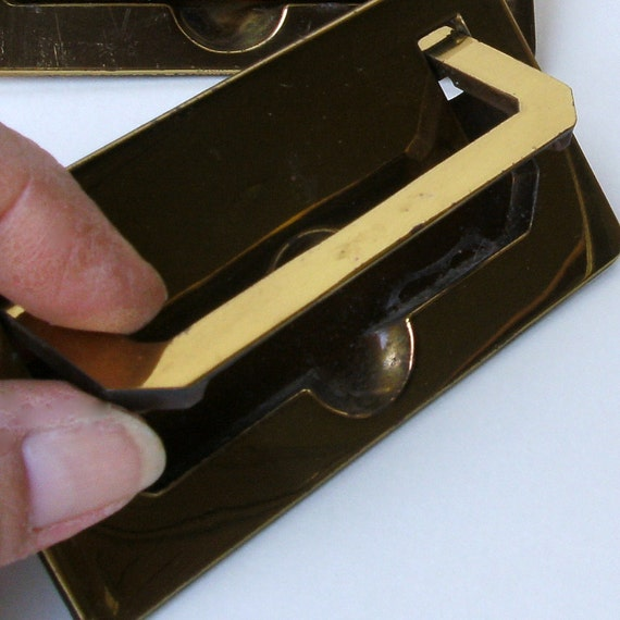 Vintage 6 Rectangle Drop Handle Brass Drawer Pulls