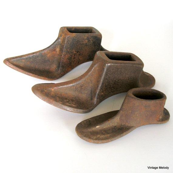 Antique Shoe Forms Iron Cobbler Tools Set of 3