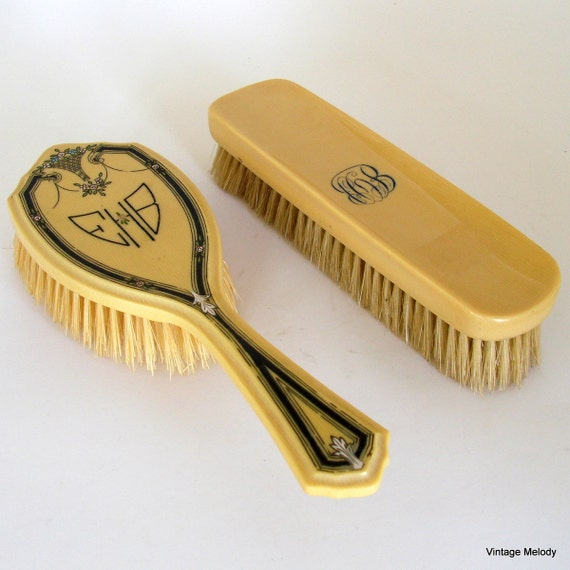SALE Vanity Brushes Set of Two Monogrammed Ivory by DuBarry Hair Brush and Clothes Brush were 20.00