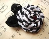 A Black And White Stripe Hair Clip/Brooch