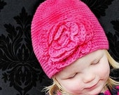 CROCHET PATTERN - Lily's Rose Crochet Hat With Flower Five Sizes From Newborn To Ten Years In ARAN Weight Yarn