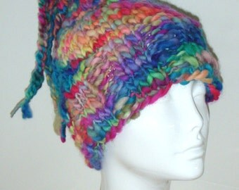 KNITTING PATTERN -  On The Bright Side Adult Size Hat Knitted In The Round Two Versions