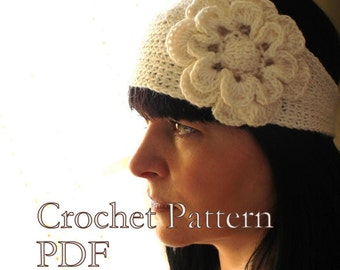 PATTERN - Head Band With Flower Crochet Pattern