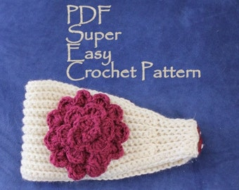 PATTERN - Super Easy Crochet Headband With Flower PDF Worsted Weight