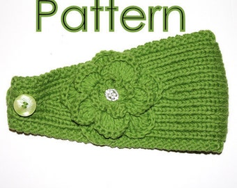 PATTERN - Knitting Pattern Headband with Crochet Or Knitted Flower