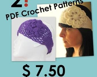 CROCHET PATTERN - Crochet Pattern Headband/Headwrap With Flower Mesh Photo Tutorial