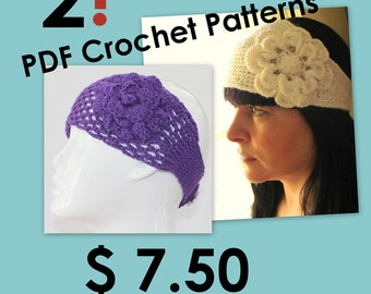 CROCHET PATTERN - Headband With Flower Crochet Pattern Looks Like Knitted
