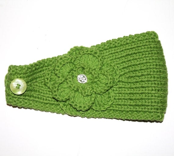 Knitted Headband Patterns With Flower : PATTERN Knitting Pattern Headband with Crochet by AbsoluteKnits