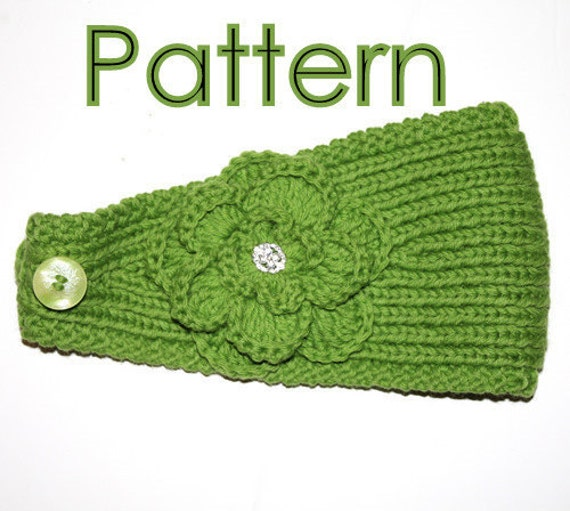 Knit Headband Pattern With Crochet Flower : KNITTING PATTERN Headband with Crochet Or by AbsoluteKnits