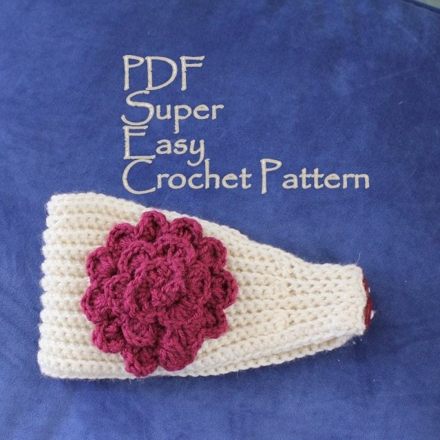 Free Crochet Patterns For Headbands With Button Closure : PATTERN Super Easy Crochet Headband With Flower PDF Worsted