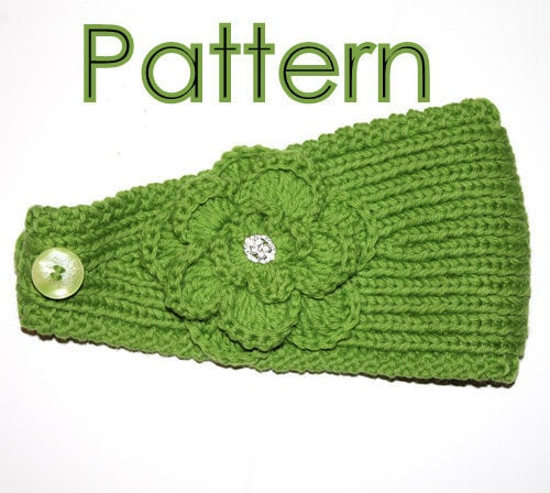 Knitted Headband Patterns Wide : KNITTING PATTERN Headband with Crochet Or Knitted Flower