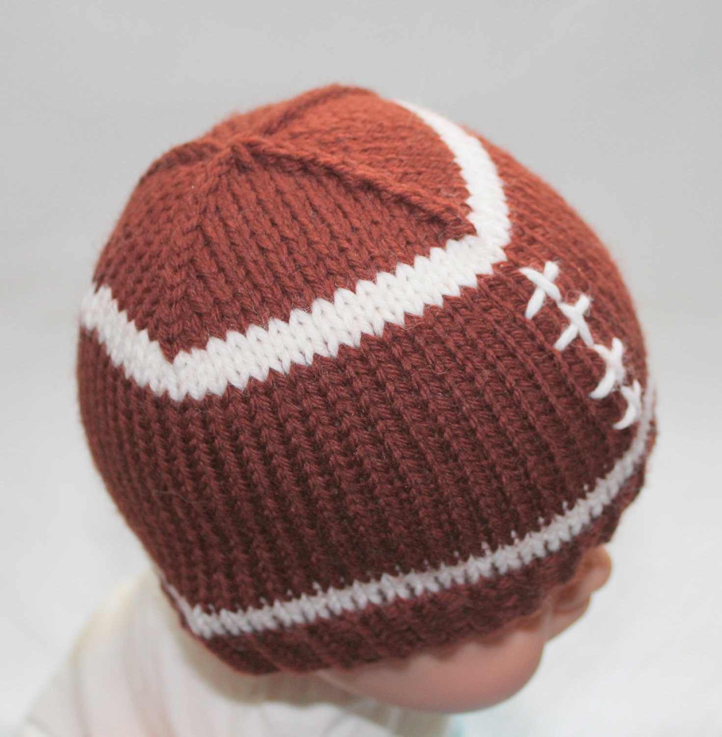 PATTERN Football Baby Hat Knitting Pattern Size by AbsoluteKnits