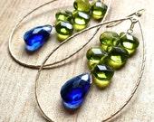 Royal Blue and Green Hoop Earrings