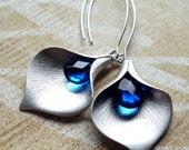 Blue Calla Lily Earrings