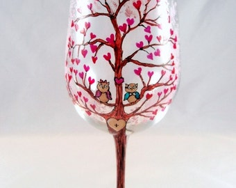 Personalized Wine Glass -Engagement  Love Tree Owls Romantic Wedding Heart Hand Painted Wine Glass