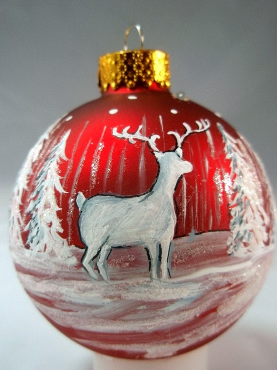 woodland deer hand painted red glass ball ornament free