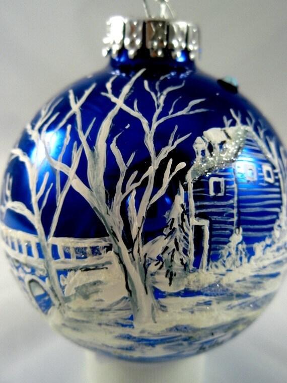 Snowy House beside Bridge Hand Painted Cobalt Blue Glass Ball Ornament - FREE SHIPPING