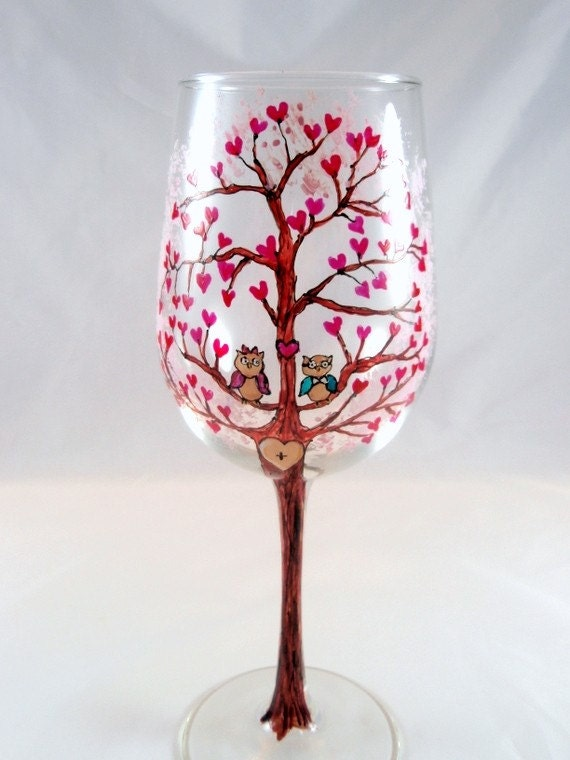 items similar to personalized wine glass engagement love tree owls romantic wedding heart hand painted wine glass on etsy