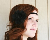 Black Flower With Sequin Center And Black Stretch Headband