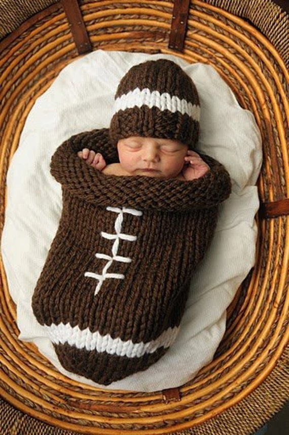 Free Knitting Pattern Baby Cocoon And Hat : Knit Football Cocoon and Hat Pattern
