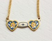Sample Sale - Double Heart Necklace - Blue