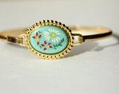 Blue Flower Oval Bracelet