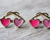 SAMPLE SALE- Vintage Sunglass Earrings - Pink Hearts