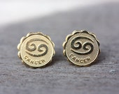 Gold Astrology Studs - Cancer