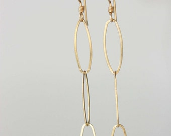 Long Chain Earrings - Silver or Gold