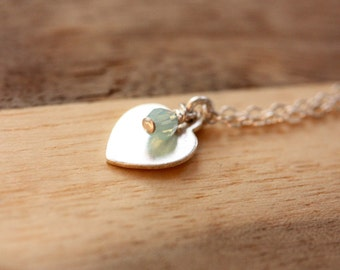 Silver Heart Necklace, Heart Necklace, Stone Necklace, Sterling Silver Heart Necklace, Heart Charm Necklace, Heart Charm, Sterling Charm