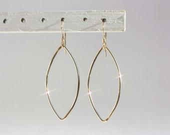 Gold Oval Earrings, Gold Wire Earrings, Gold Marquis Earrings, Delicate Gold Earrings, Gold Dangle Earrings, Gold Drop Earrings, Light Gold