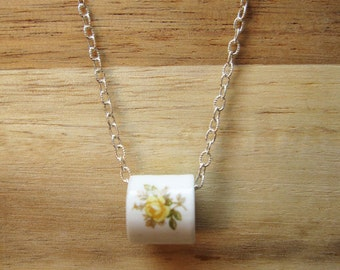 Silver Flower Charm Necklace, Teacup Necklace, Bead Necklace, White Necklace, Rose Necklace, Pink, Blue, or Yellow