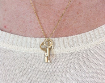 Gold Key Necklace, 14K Gold Necklace, 14K Gold, Gold Charm Necklace, Key Necklace, Skeleton Key Necklace