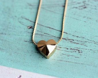 Heart Necklace Gold, Heart Necklace, Vintage Heart Necklace, Gold Heart Pendant Necklace, Block Heart Necklace, Heart Shaped Necklace