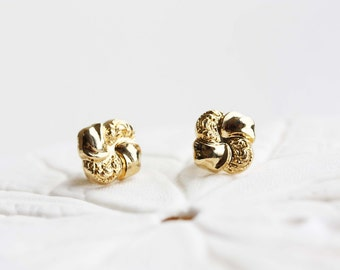 Gold Swirl Studs, Square Gold Studs