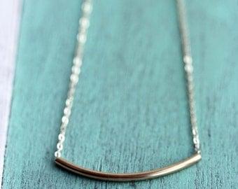 Tube Necklace Gold, Bar Necklace, Gold Bar Necklace, Silver Bar Necklace, Silver Tube Necklace, Gold Filled Bar Necklace, Sterling Silver
