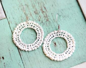 Lace Circle Earrings, Lace Earrings, Crochet Earrings, Silver Earrings, Circle Earrings