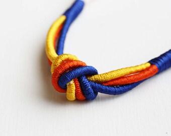 Rope Necklace - Yellow Orange Blue