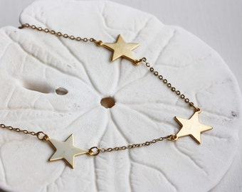 Gold Star Necklace, Three Star Necklace, Star Chain Necklace