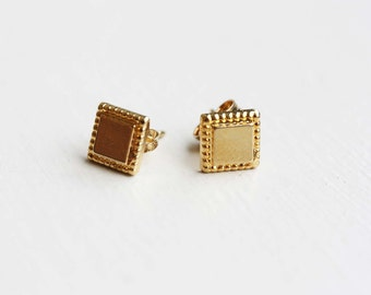 Gold Square Studs, Square Studs, Small Square Studs, Small Gold Studs
