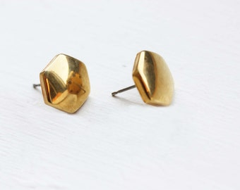 Gold Geometric Studs