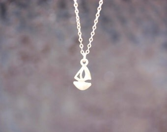Boat Necklace, Gold or Silver